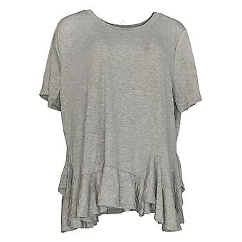 DG2 por Diane Gilman Women's Plus Top Gray Polyester Short Sleeve 677-991