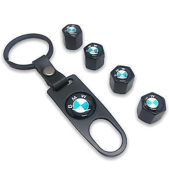 بي ام دبليو مجموعة زرقاء من 4 أسود الإطارات الهواء صمام الغبار الساقي قبعة مع أداة قفل Keyring