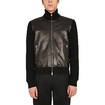 Tom Ford Bvm86tfk157k09 Hombres's chaqueta exterior de cuero negro