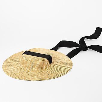 Femmes Long Ribbon Beach Fashion Dress Up Summer Sun Visor Caps
