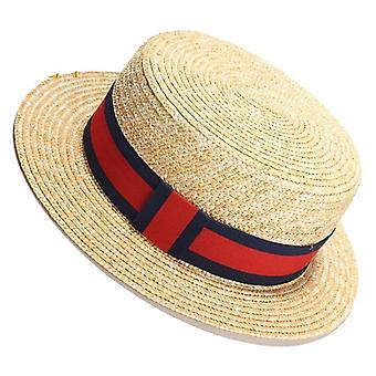Natural Wheat Straw Boater Fedora Top Flat Hat