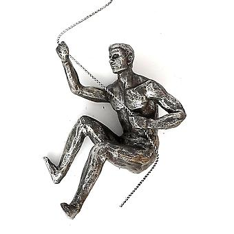 Silver Abseiling Man Looking Up 73cm