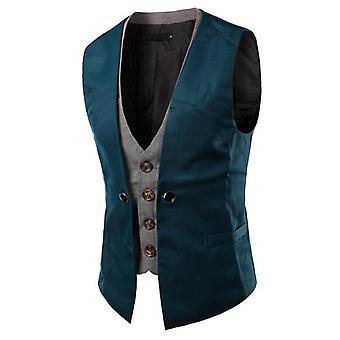 Men Vest Singlet Breasted Waistcoat,  Patch Slim Suit, Vest Two Pieces