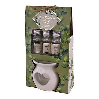 Ceramic Oil Burner With 3 Bottles of Eucalyptus Leaf Fragranced Oil