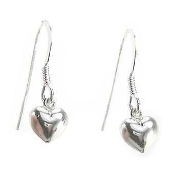 Tiny Puffed Hollow Heart Bungelen oorbellen .925 X 1 Pair Drops