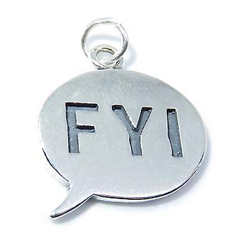 Fyi Sterling Silver Charm .925 X 1 Pour votre information Speech Charms - 8296
