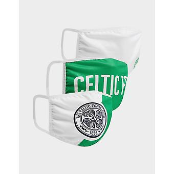 New Official Team Celtic FC 3 Pack Face Coverings Green
