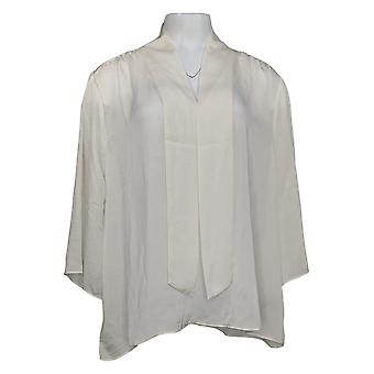 Colleen Lopez Women's Top Hammered Satin Tie-Neck Blouse Ivory 708-488