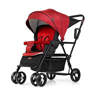 Lightweight Twin Baby Stroller, Front And Rear Seat Baby Carriage Gear Baby