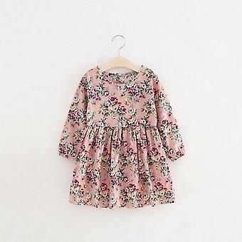 الاطفال فساتين طويلة الأكمام زهرة الأميرة المطبوعة فستان الصيف