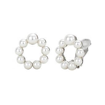 Traveller Clip Earring - White pearls Parels - Rhodium plated - 114192