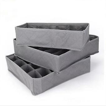 3kpl /set Taitettava Alusvaatelaatikko Rintaliivit Säilytyslaatikot Kotelo (harmaa