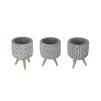 Set of 3 Geometric Circle Design Cement Mini Planters With Wooden Legs