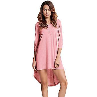 Kvinner lang tunika topp grunnleggende t-skjorte knappen foran o hals ermet uregelmessig hem mini kjole