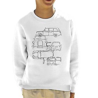 London Taxi Company Light Blueprint Kid&s Sweatshirt