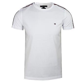 Tommy hilfiger men's white shoulder tape t-shirt