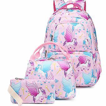 Driedelige cartoon rugzak voor schoolmeisjes, schooltassen, kinderen's rugzakken