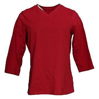 Denim & Co. Women's Essentials Perfect Jersey 3/4 Sleeve Top Red A91601
