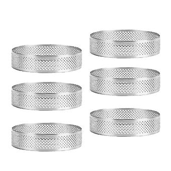 6 Pieces 8cm Stainless Steel Porous Tart Cake Ring,bottom Tower Pie Cake Mould, Small Cake Mousse Ring