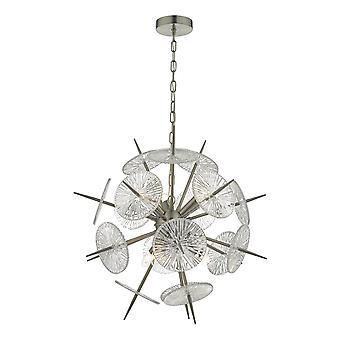 Lampa wisząca Satynowa nikiel i szkło, 6x E14