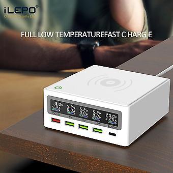 Adaptador de energia USB Tipo C PD 65W branco de 5 portas para carregamento rápido do celular LCD para laptop