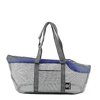 Sininen kannettava verkko lemmikki laukku hengittävä ulkona lemmikkieläinten kantajat käsilaukku suuri kapasiteetti taitettava kissa laukku cai1206
