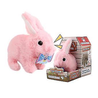 Az7754 atlayabilir pembe elektrikli peluş simülasyon oyuncak tavşan