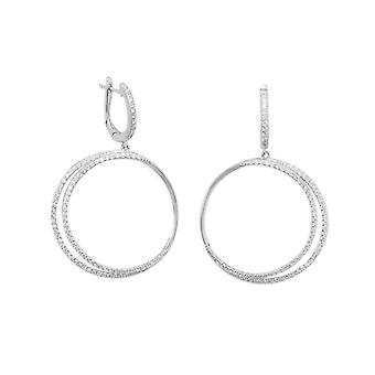 925 Sterling Silver Rhodium Plated Eclipse CZ Hoop Earrings CZ Double Drops 30mm in Diameter Have a Latc Jewelry Gifts f