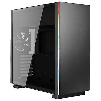Aerocool Glo RGB Mid-Tower Case - Black Tempered Glass