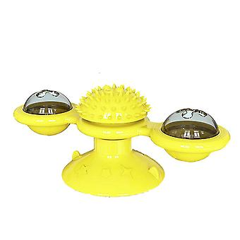 ألعاب طاحونة الهواء الأصفر للقطط لغز دوامة القرص الدوار تدريب هريرة التفاعلية az13479