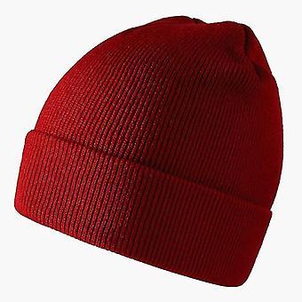 Muoti neulottu beanies hattu, talvi lämmin suksi pehmeä elastinen korkki (Burgundy)