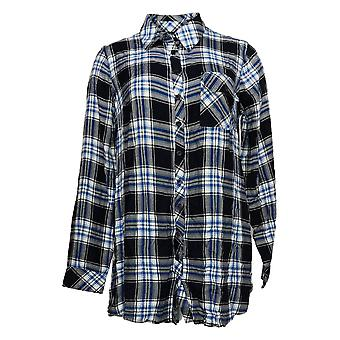 Tolani Collection Women's Top Regular Plaid Tunic Print Back Blue A383438