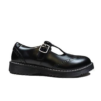 Startrite Föreställ dig svarta läder flickor T Bar Skolskor