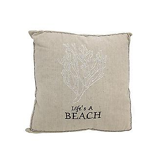 Life's a Beach Embroidered Decorative Throw Pillow 14in.