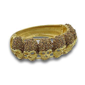 Fonkelende Strass schedels Gold Tone scharnierende Bangle Bracelet