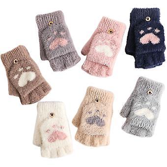 Women's Winter Warm Touch Screen Gloves Cute Cat Claw Sensory Finger Less Mitten