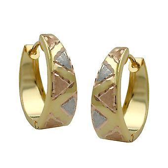Tricolor de criollo criollo de aretes de oro Tri-color mate brillante, 9 KT oro 375