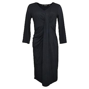 Colleen Lopez Dress 3/4-Sleeve Cinched Twist Front Black 711726