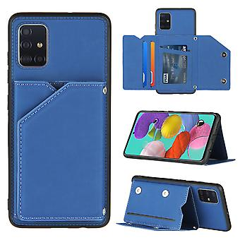Etui pour Samsung Galaxy A51 4g Vintage Cuir Housse Cuir Cas Cas pare-chocs - Bleu