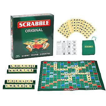 Scrabble portable Jeu de société Famille Enfants Adultes Jouet éducatif Puzzle Jeu Jeu Tableau d'orthographe Table de puzzle Mots enseignement