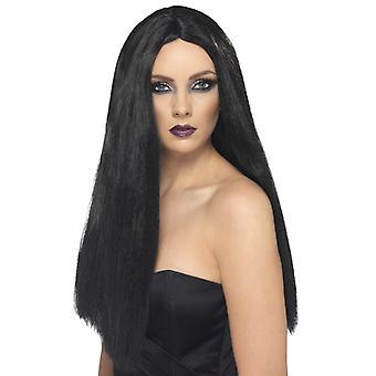 Strega parrucca, lunga, nera
