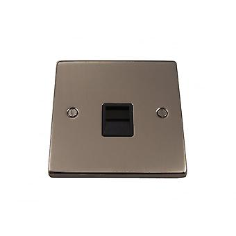 Causeway Single Secondary Telephone  Socket Outlet, Satin Chrome, Black