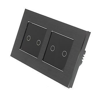 Eu LumoS alumínio escovado duplo quadro 4 Gang 1 toque de maneira remota & Dimmer LED luz negra alternar Insert preto