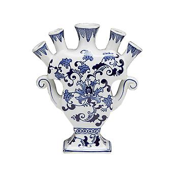 AA Importing 59878 Five Finger Blue And White Vase