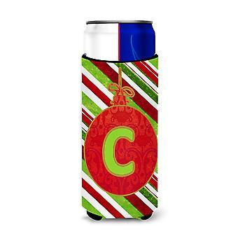 Christmas Oranment Holiday Monogram Initial  Letter C Ultra Beverage Insulators