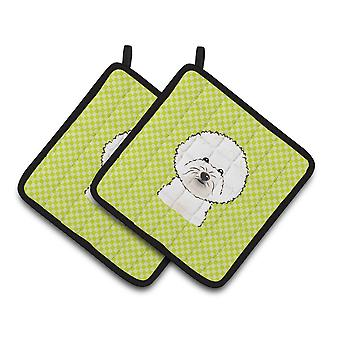Checkerboard Lime Green Bichon Frise Pair of Pot Holders