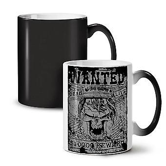 Wanted Skeleton Skull NEW Black Colour Changing Tea Coffee Ceramic Mug 11 oz | Wellcoda