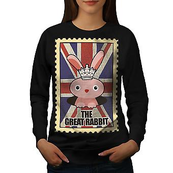 The Great Rabbit Women BlackSweatshirt   Wellcoda
