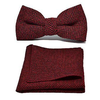 Cranberry rode & zwarte Herringbone strikje & zak plein Set