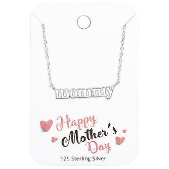& اقتباس الأم & قلادة على الأم سعيدة & ق بطاقة اليوم - 925 مجموعات الفضة الاسترليني - W36094X